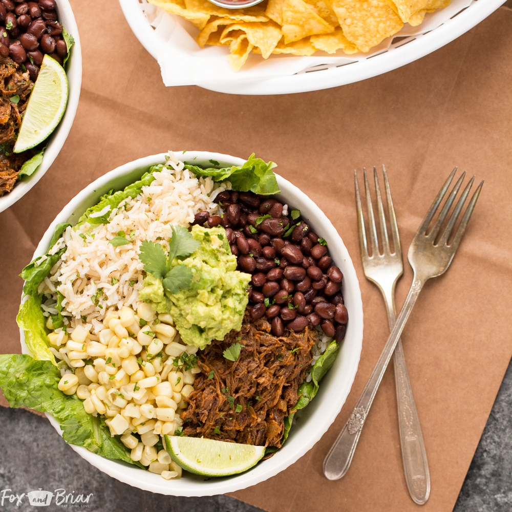 These Slow Cooker Beef Burrito Bowls are a delicious and easy make ahead meal. All ingredients can be prepared ahead of time and putting the burrito bowls together just takes a few minutes. Just like your favorite Chipotle burrito bowl, but better! Gluten free Dairy Free