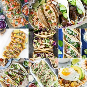31 Creative Taco Recipes so you can have a different taco every day! Taco Tuesday | Steak Tacos | Chicken Tacos | Beef Tacos | Fish Tacos | Pork Tacos | Veggie tacos | Cinco De Mayo Recipes