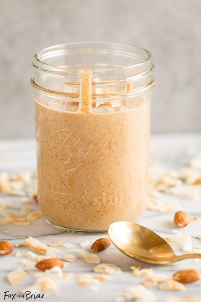 Toasted Coconut Almond Butter | Homemade Almond Butter | DIY Almond Butter | Sugar Free Snack | Whole 30 Snack | Paleo Snack | Paleo Recipe | Whole 30 Recipe | Healthy Snack Recipe