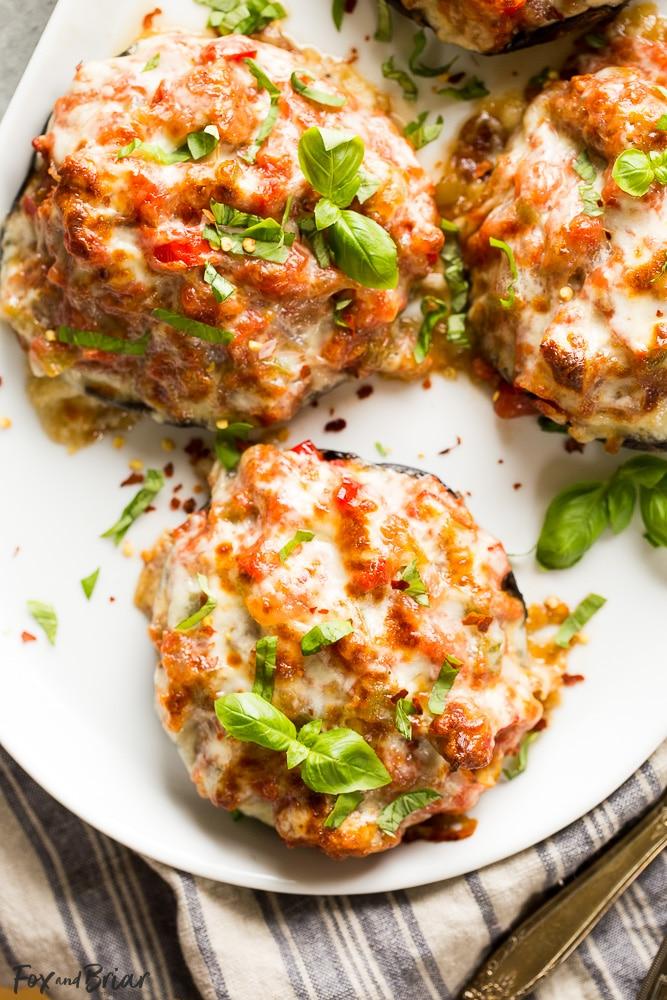 Sausage Stuffed Portobello Mushrooms | Low Carb Dinner | Clean Eating | Healthy Dinner Recipe | Portobello Mushroom Recipes | Portobella Mushroom recipe | Sausage recipe | Easy dinner recipe