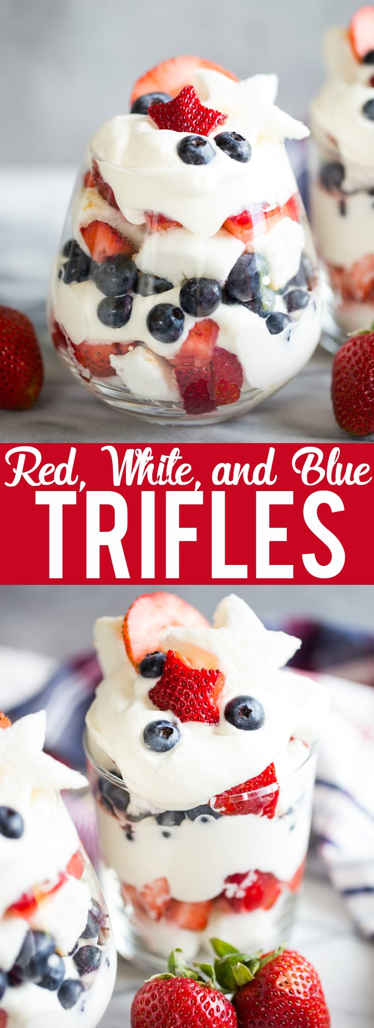 These Red, White, and Blue Trifles are an easy and delicious dessert for Fourth of July, Memorial Day, Labor Day or any Summer BBQ!   Red white and blue dessert   fourth of July dessert   Labor day dessert   Summer Dessert   Dessert Recipe for BBQ   4th of July