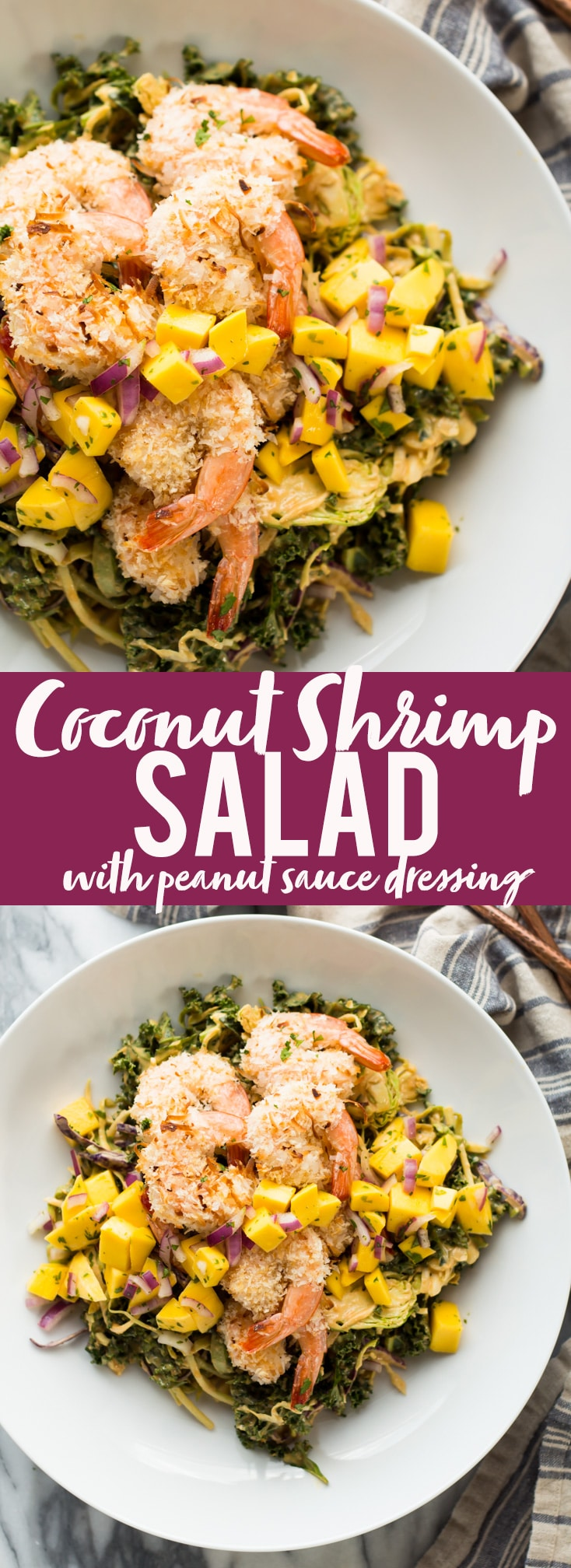 This delicious and tropical Coconut Shrimp Salad is topped with a fresh mango salsa and the most addictive peanut sauce dressing ever!