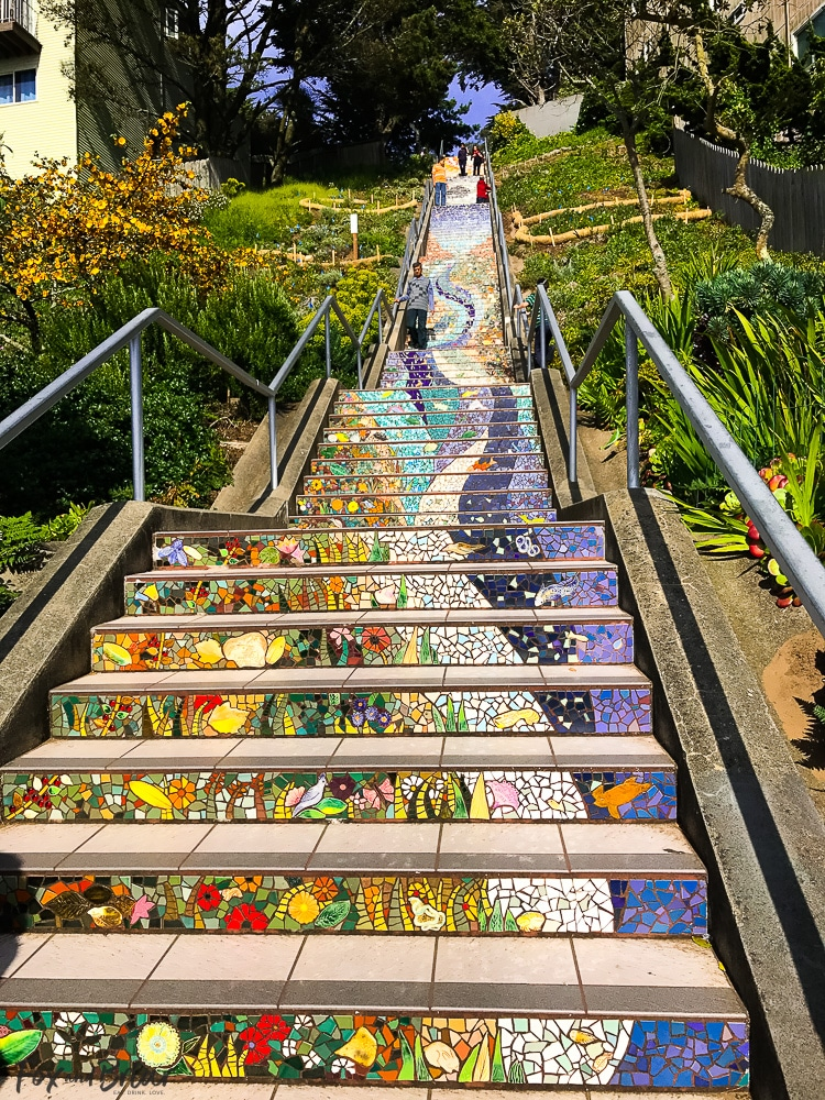 16th Avenue Tiled Steps in San Francisco. What to do and where to eat in San Francisco. The Ultimate Weekend Travel Guide! How to spend a 3 day weekend in San Francisco | Best places to eat in San Francisco | tourist attractions San Francisco | Weekend trip to San Francisco | Things to do in San Francisco | Underrated things to do in San Francisco