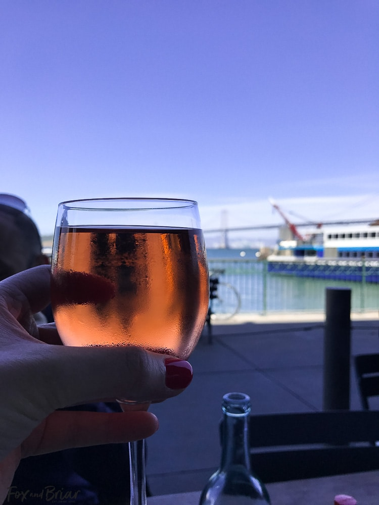 Rosé at Hog Island Oyster Co. in San Francisco. What to do and where to eat in San Francisco. The Ultimate Weekend Travel Guide! How to spend a 3 day weekend in San Francisco | Best places to eat in San Francisco | tourist attractions San Francisco | Weekend trip to San Francisco | Things to do in San Francisco | Underrated things to do in San Francisco