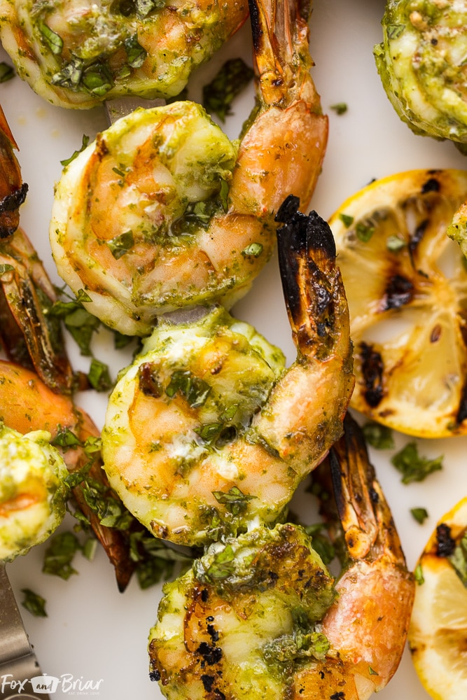 These Easy Pesto Grilled Shrimp make a quick appetizer or dinner perfect for any summer evening. Grilling recipes | Easy grilling recipe | Low Carb Grilled recipes | Quick dinner | Healthy Dinner | Shrimp Recipes