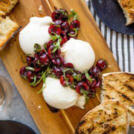 Burrata with Balsamic Cherries and Basil...