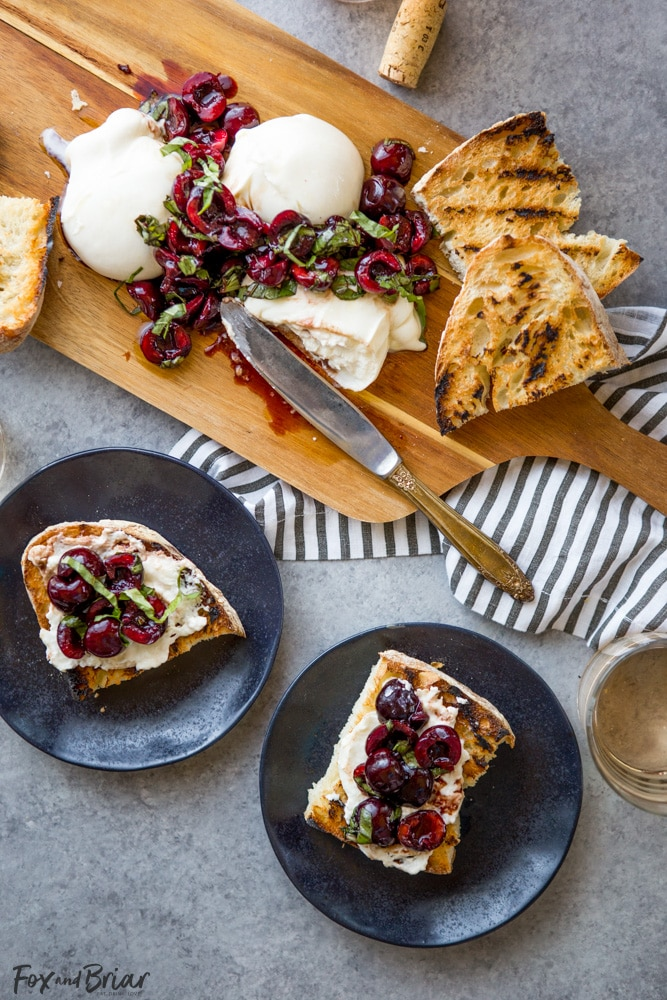 This Burrata with Balsamic Cherries and Basil the ultimate summer appetizer! Creamy, fresh burrata paired with juicy cherries and fragrant basil uses summer produce at its best, and no cooking required! Summer appetizers   Cherry Recipes   basil Recipes   burrata Recipes   party appetizers