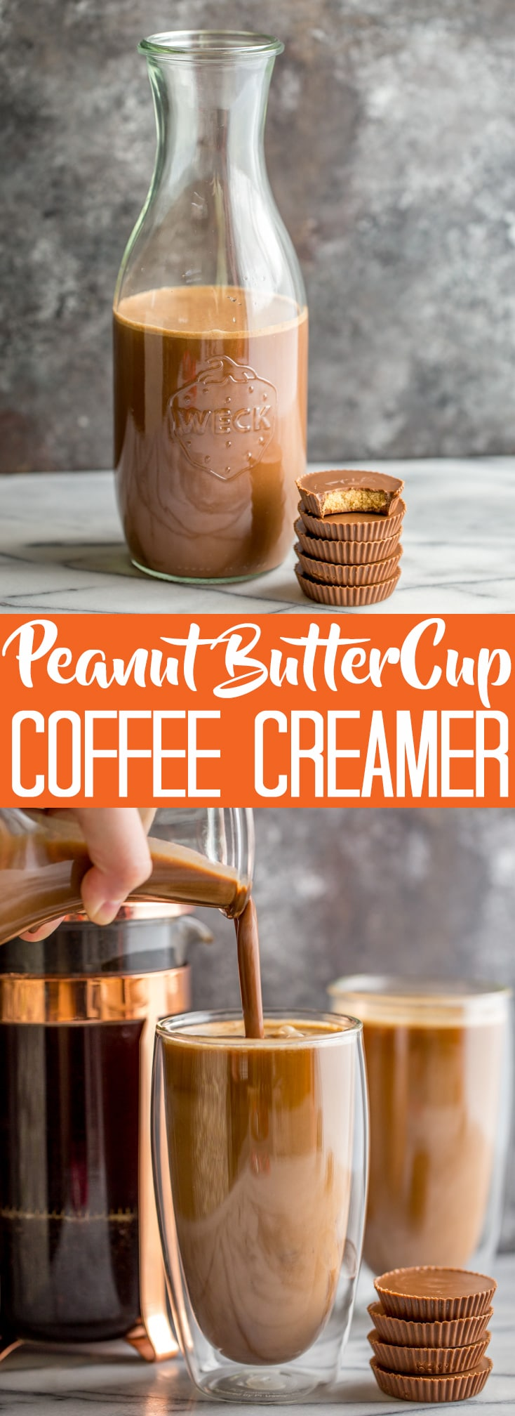 This Homemade Peanut Butter Cup Coffee Creamer will liven up your morning coffee! Homemade Creamer | Coffee Creamer | Peanut Butter Creamer | Peanut Butter Cup Creamer