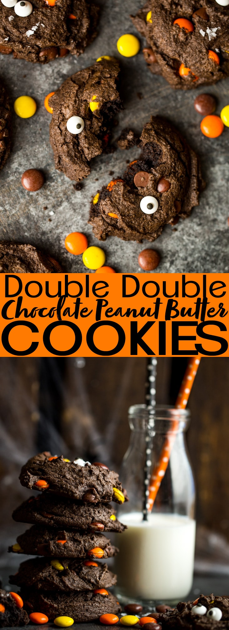 Double Double Chocolate Peanut Butter Cookies | Halloween Cookies | Chocolate Chocolate Chip Cookies | Chocolate and Peanut butter Cookies