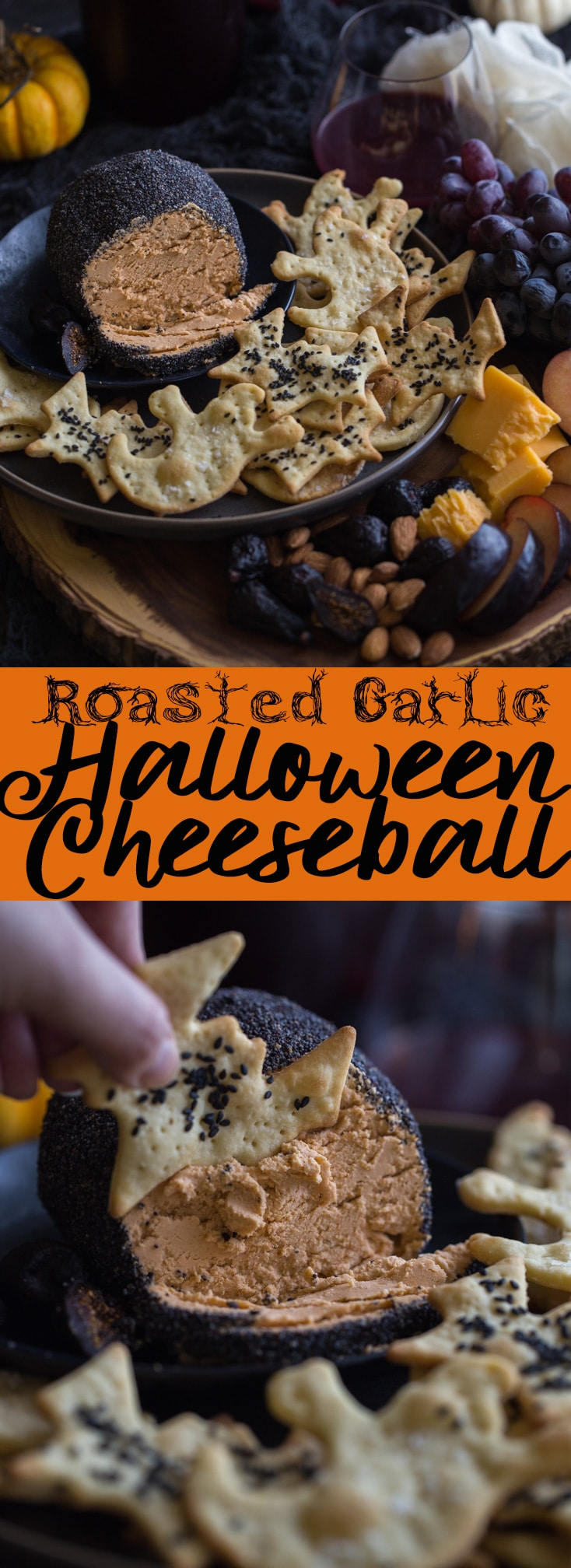 This spooky Roasted Garlic Cheese Ball is perfect for your Halloween party! Cheese Ball Recipe | Halloween Party foods | Grown Up Halloween | Adult Halloween | Classy Halloween