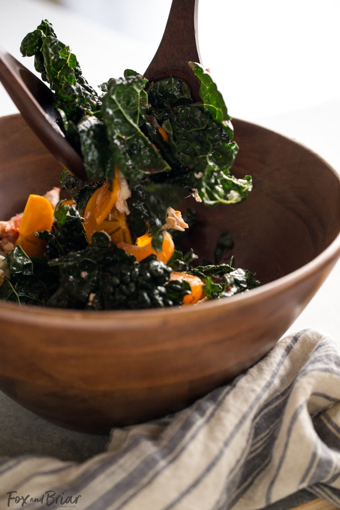 This Citrus Kale Salad with Blood Orange Vinaigrette is a healthy and refreshing winter detox salad. After an indulgent holiday, this is a great way to use up leftover turkey or chicken and get some much needed nutrients between all the crazy holiday eating! Blood orange vinegrette recipe | Leftover turkey recipes | Persimmon recipes | detox salad | Winter Salad recipe | Healthy winter recipe | leftover chicken recipe | recipe to use rotisserie chicken