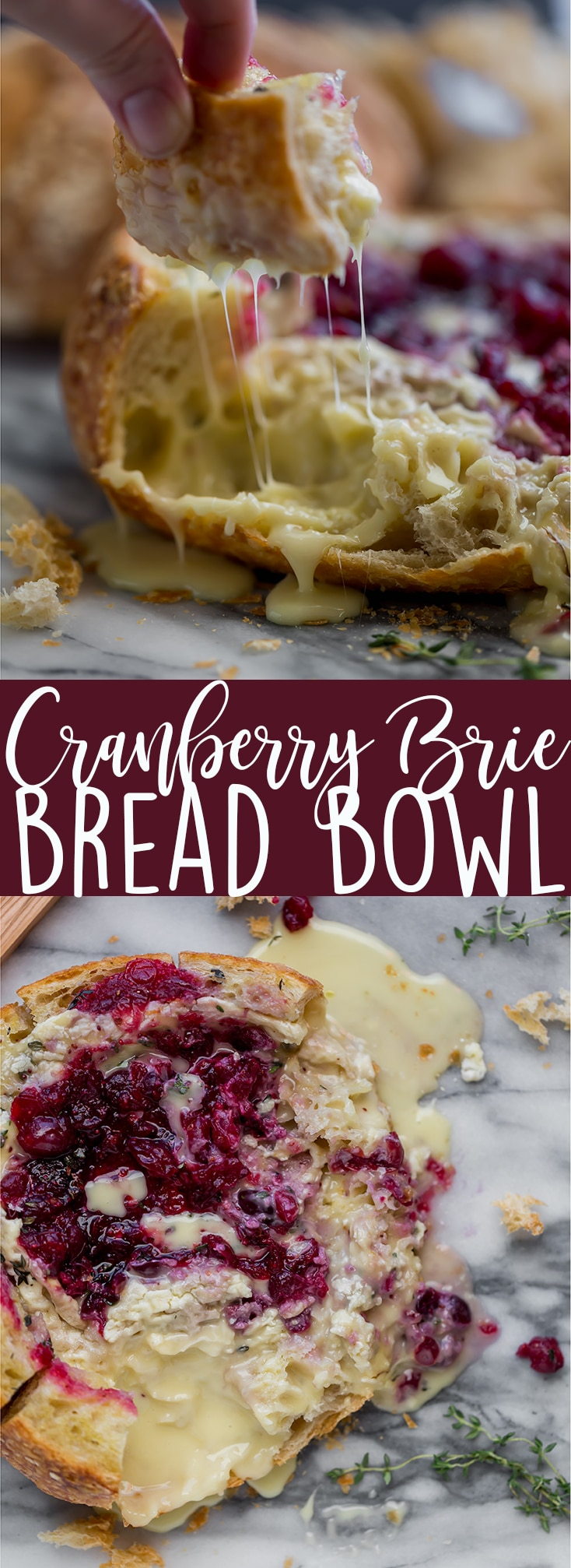 This Tear Apart Baked Cranberry Brie Bread Bowl is a beautiful holiday party appetizer. Melty brie and sweet tart cranberry sauce are a match made in heaven! | Baked Brie | Bloomin' Brie Bread Bowl | Holiday baked brie | Brie and cranberry appetizer | Christmas Appetizer | Thanksgiving Appetizer | New Years Appetizer | Appetizer for parties | Baked Brie Dip in bread