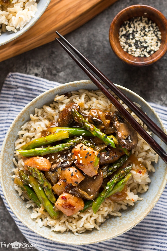 Ginger Chicken Asparagus Stirfry
