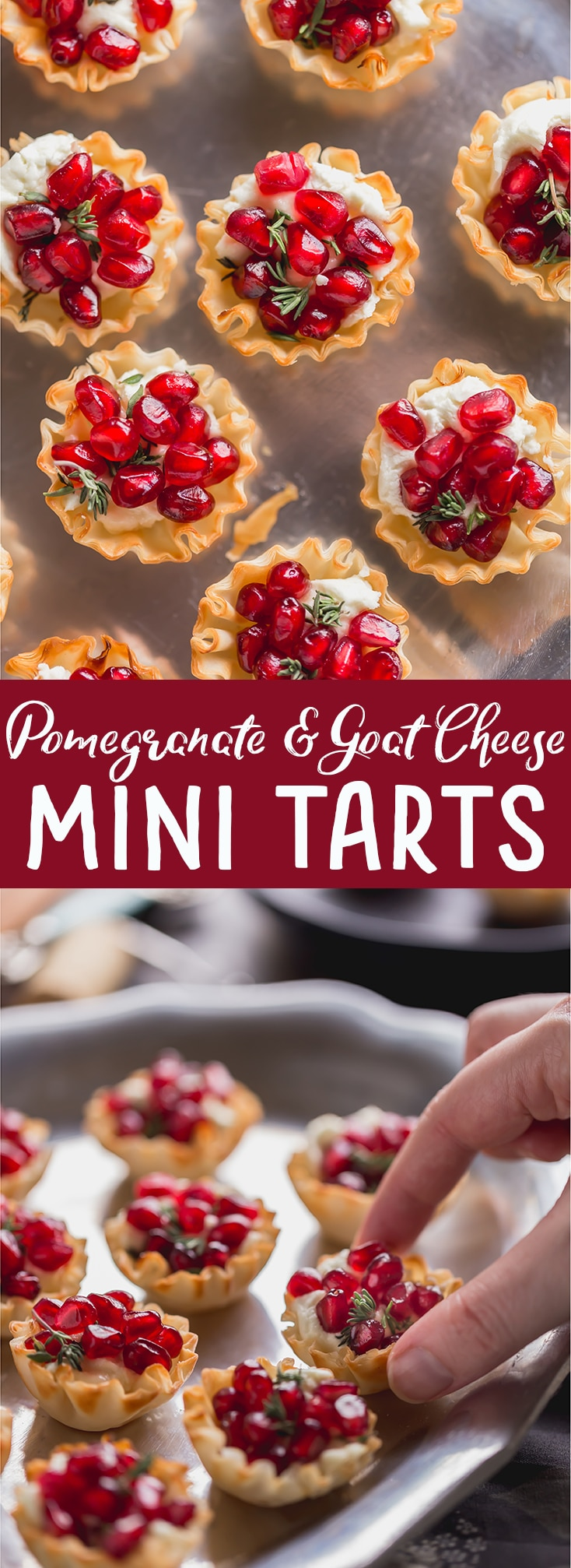 These Pomegranate Goat Cheese Bites with Honey and Thyme are an easy holiday appetizer that is sure to impress your guests! | easy party appetizer | phyllo bite recipe | Phyllo dough recipe | mini phyllo shells appetizers | phyllo dough hors d'oeuvres recipes | finger foods | holiday appetizer recipe | elegant party appetizer | girls night | apps | new years eve party recipe | thanksgiving appetizer |