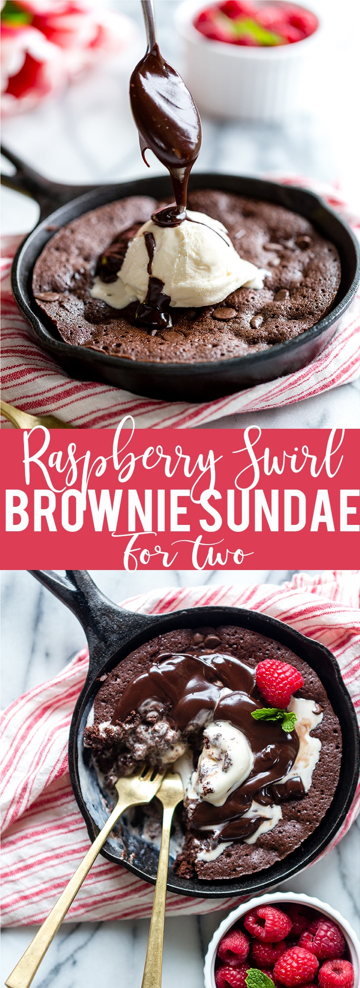 Raspberry Swirl Brownie Sundae for Two. It's the best small batch fudgy brownie for two ever! Small batch brownie for two   Skillet brownie   Brownie Sundae   Brownie Sunday   Valentine's Day Dessert for Two   One bowl brownies for two   Easy Valentine's Dessert   Easy Skillet Brownie Recipe for Two   Small Batch Baking   best fudgy brownie