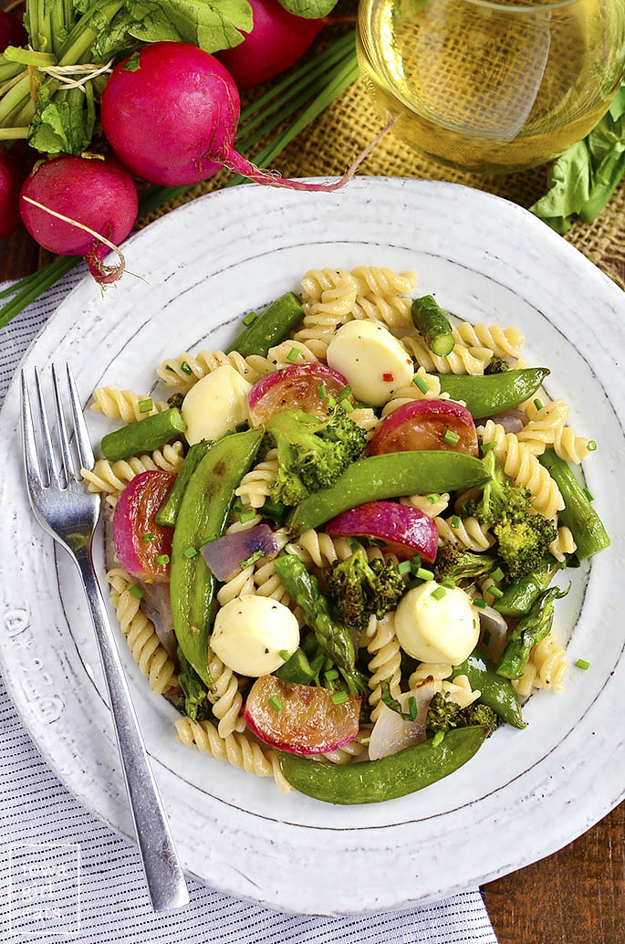 Pasta Roasted Spring Vegetables and Marinated Mozzarella by Iowa Girl Eats