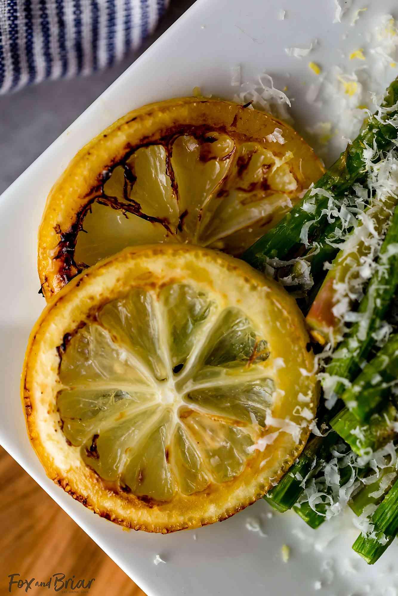 roasted lemon slices close up