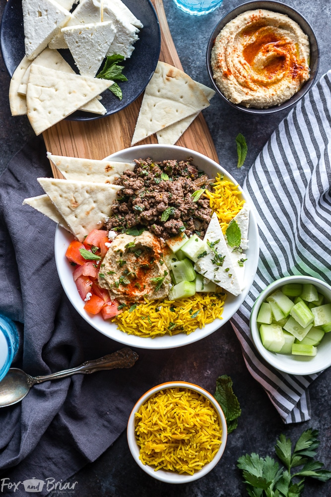 These Mediterranean Lamb Bowls are an easy and healthy ground lamb recipe with exotic Mediterranean flavors to spice up dinner any night of the week! | Easy Ground Lamb Recipe | Greek Lamb Recipe | Middle Eastern Lamb Recipe | Easy Dinner | Kofta Bowls