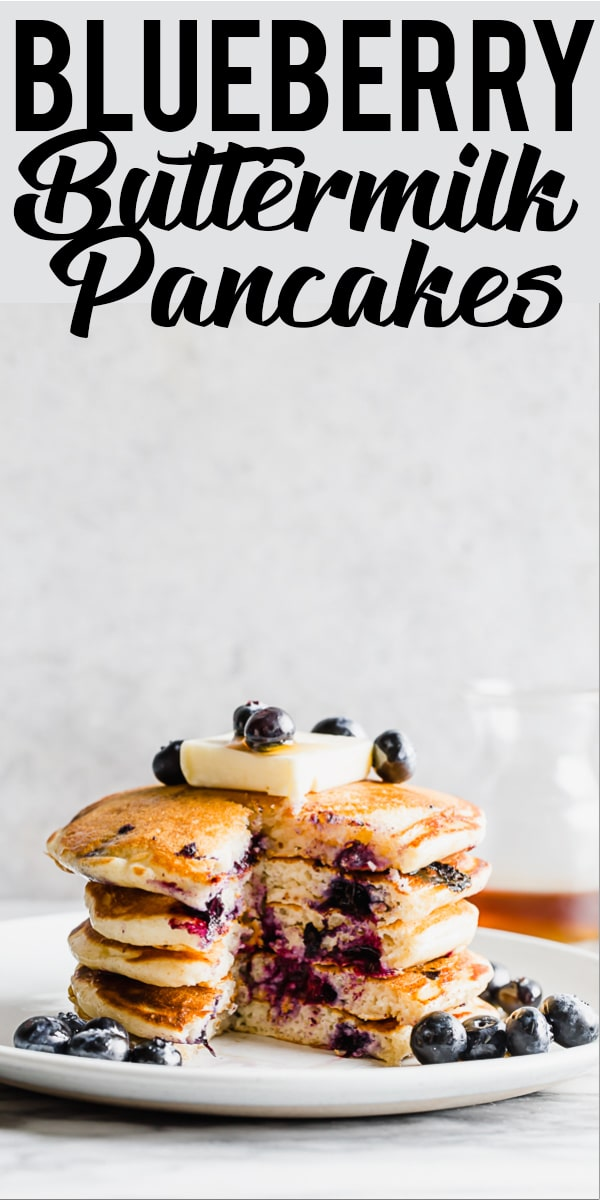 How to make the best buttermilk blueberry pancakes. Fluffy and tender blueberry pancakes from scratch make the best weekend breakfast or brunch! | Blueberry pancake recipe | Pancakes from scratch | Fluffy blueberry pancakes | Buttermilk blueberry pancake recipe | Tender pancakes | Easy pancake recipe | Homemade pancakes | breakfast recipe | blueberry recipe | Best blueberry pancakes