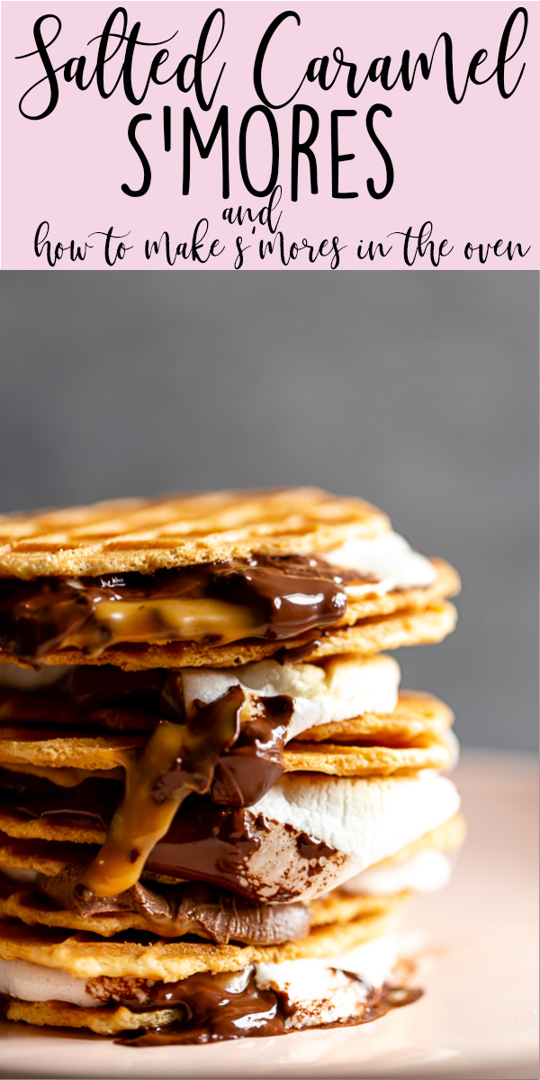 Salted Caramel S'mores plus how to make s'mores in the oven!   Indoor s'mores   smores recipe   S'mores ideas   microwave s'mores   Easy S'mores recipe   Baked smores   How to make s'mores