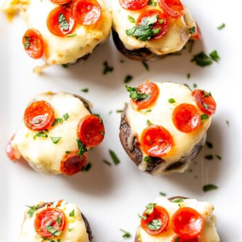 Pizza Dip Stuffed Mushrooms