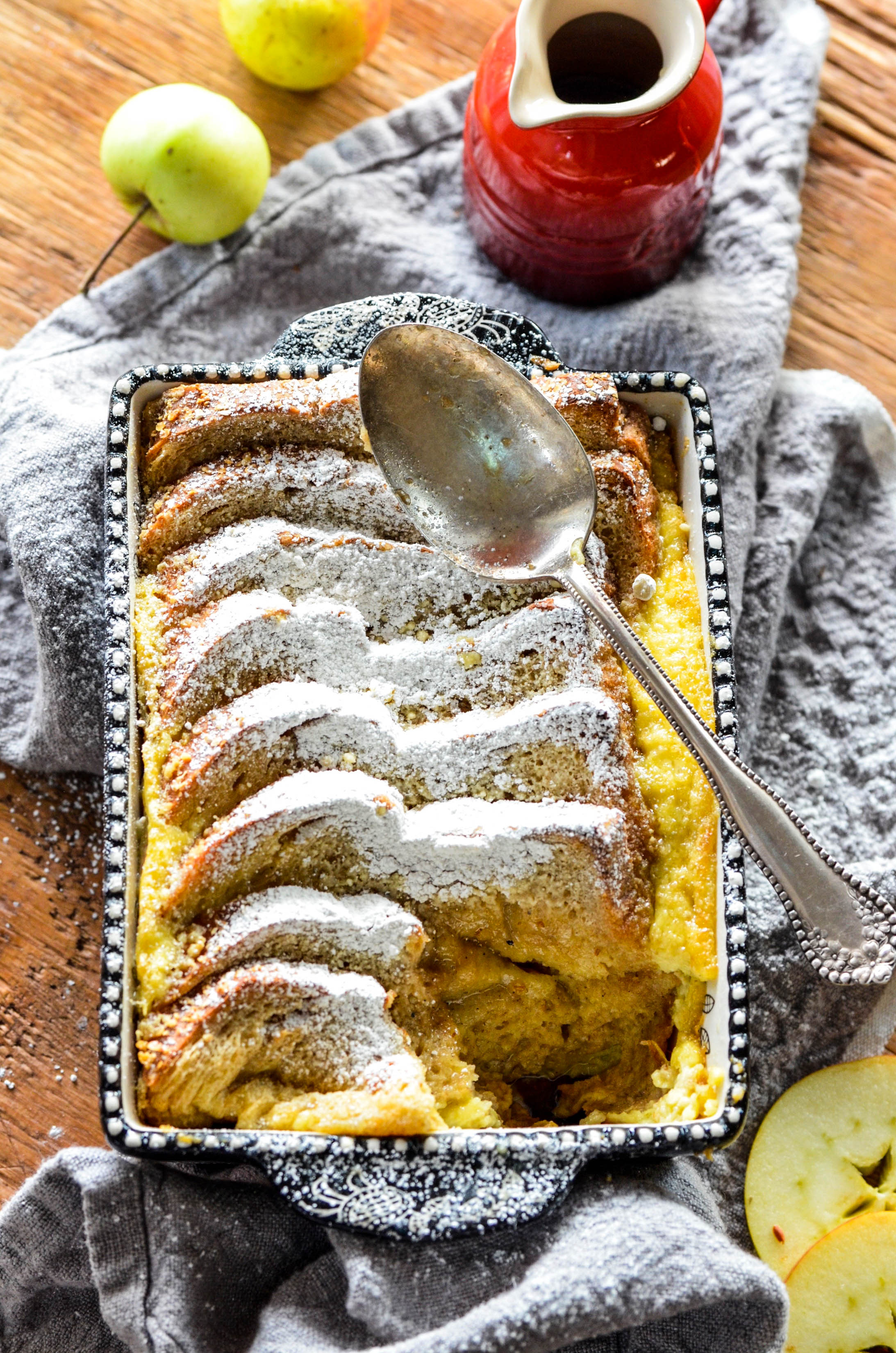 Apple Cardamom Bread Pudding is the best bread pudding we have ever had! This Apple Cardamom Bread Pudding recipe has sweet apples and citrusy cardamom for an indulgent dessert perfect for your next dinner party!