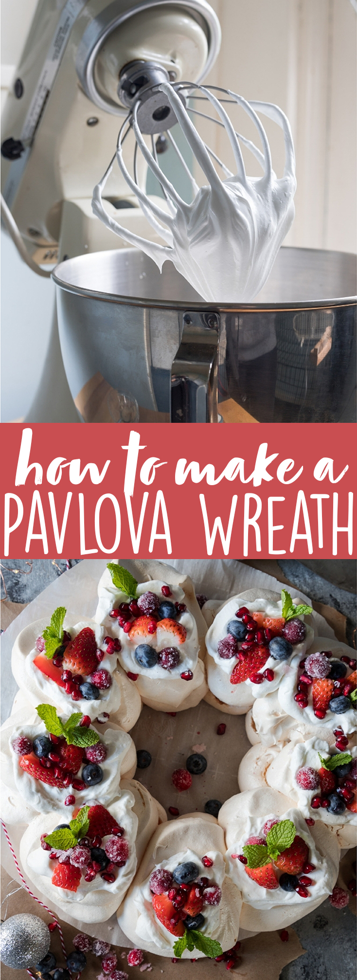 The Christmas desserts of all Christmas desserts! This pavlova wreath is an absolutely gorgeous dessert recipe that will wow your Christmas guests! A beautiful showstopper for the table and with some easy tips and tricks, you'll be nailing this in no time! Pavlova | Dessert recipe | Christmas dessert