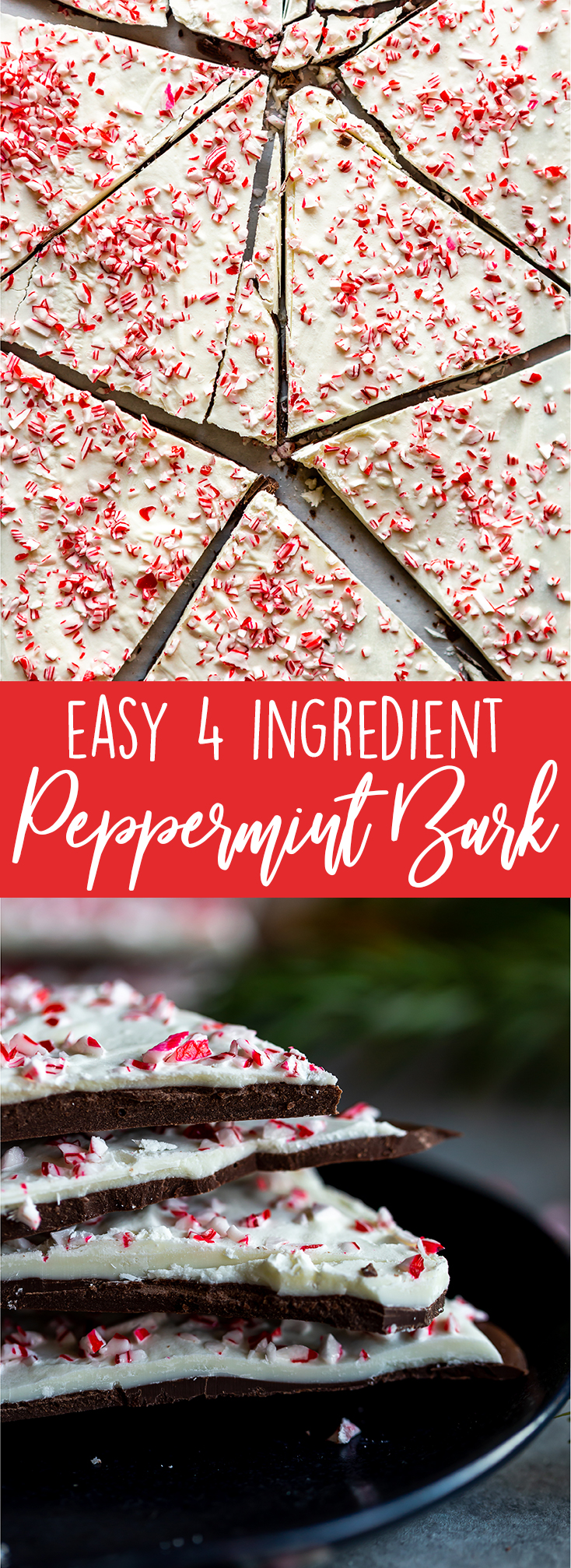 This easy peppermint bark recipe makes a great no bake Christmas treat!  Perfect for gifting, this peppermint bark has rich dark chocolate, creamy white chocolate, fresh peppermint and crushed candy canes on top. Nothing beats that classic combination of chocolate and peppermint! |Easy peppermint bark recipe | Williams sonoma peppermint bark | no bak christmas recipes | christmas food gifts | Cookie exchange recipes