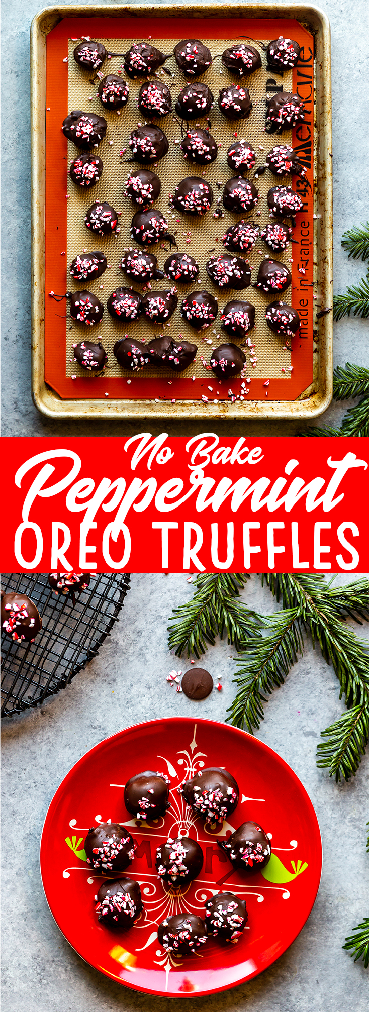 These easy, four ingredient, no bake peppermint Oreo truffles are full of peppermint and chocolate and are perfect to bring to your next Christmas cookie exchange! |Christmas Oreo Balls | Peppermint Oreo Balls | No Bake Christmas Cookie | Easy Truffle Recipe | How to make reo truffles
