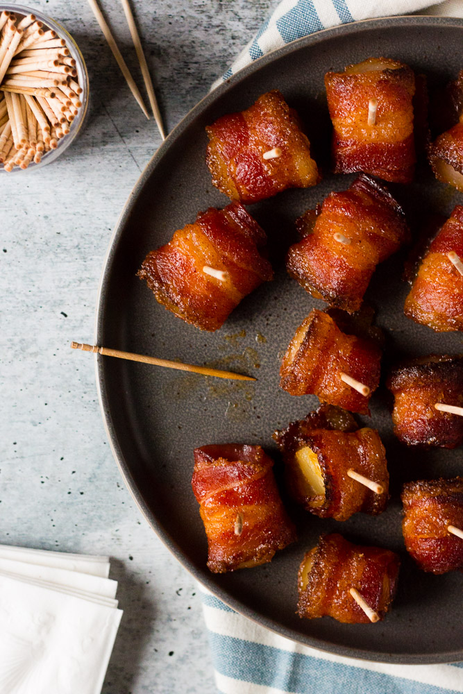 Brown Sugar Bacon Wrapped Pineapple Bites Fox And Briar