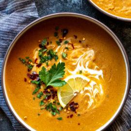 Instant Pot Vegan Red Lentil Soup