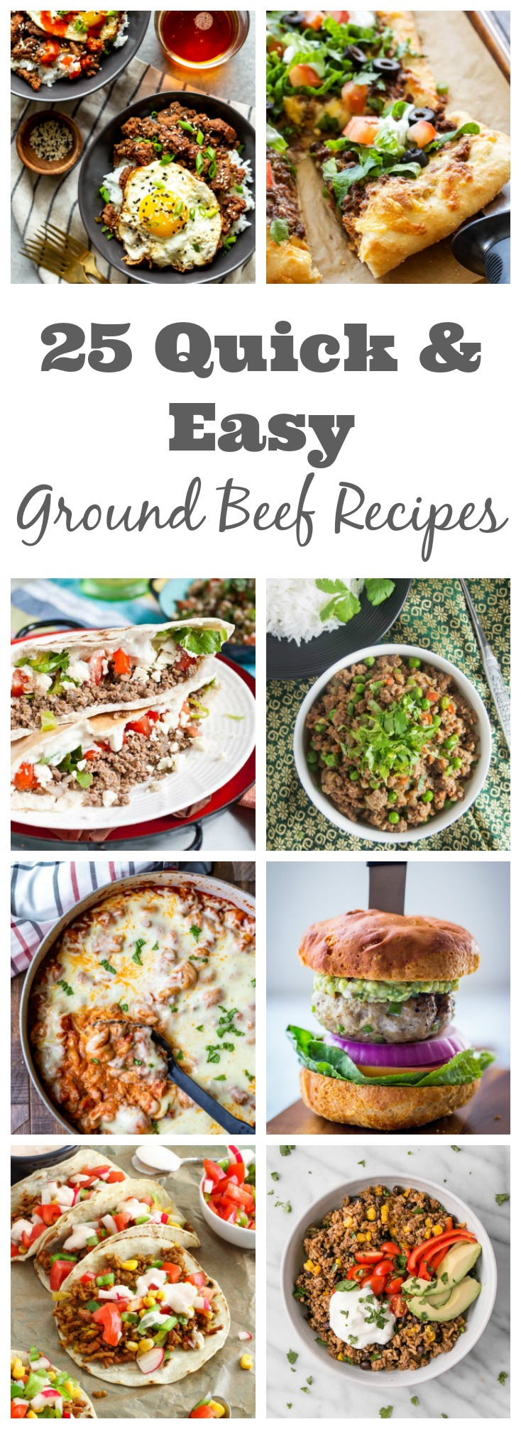 25 Quick & Easy Ground Beef Recipes for dinner.  Looking for dinner ideas using ground beef?  I've rounded up 25 Quick and Easy Dinner recipes using ground beef!