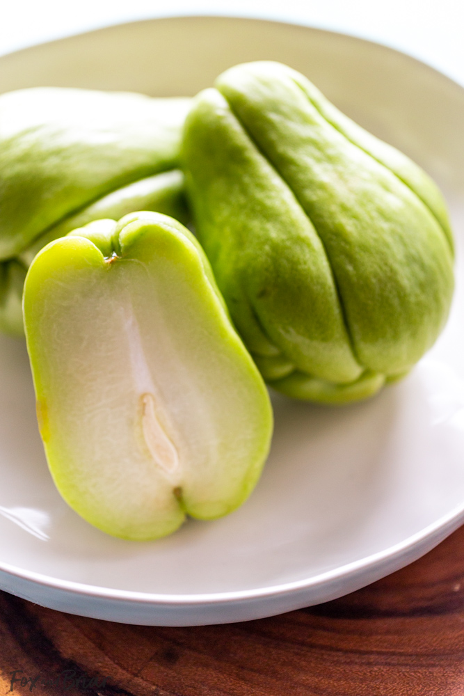 photo of Chayote squash in a white bowl