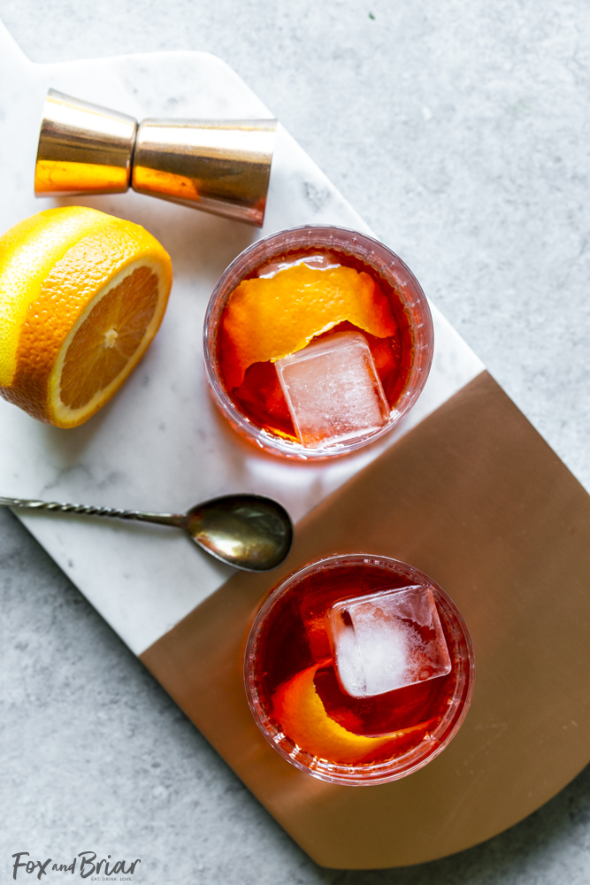 two negroni cocktails from above