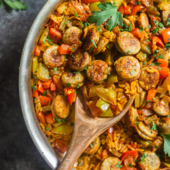 Easy One Pot Sausage and Rice Skillet