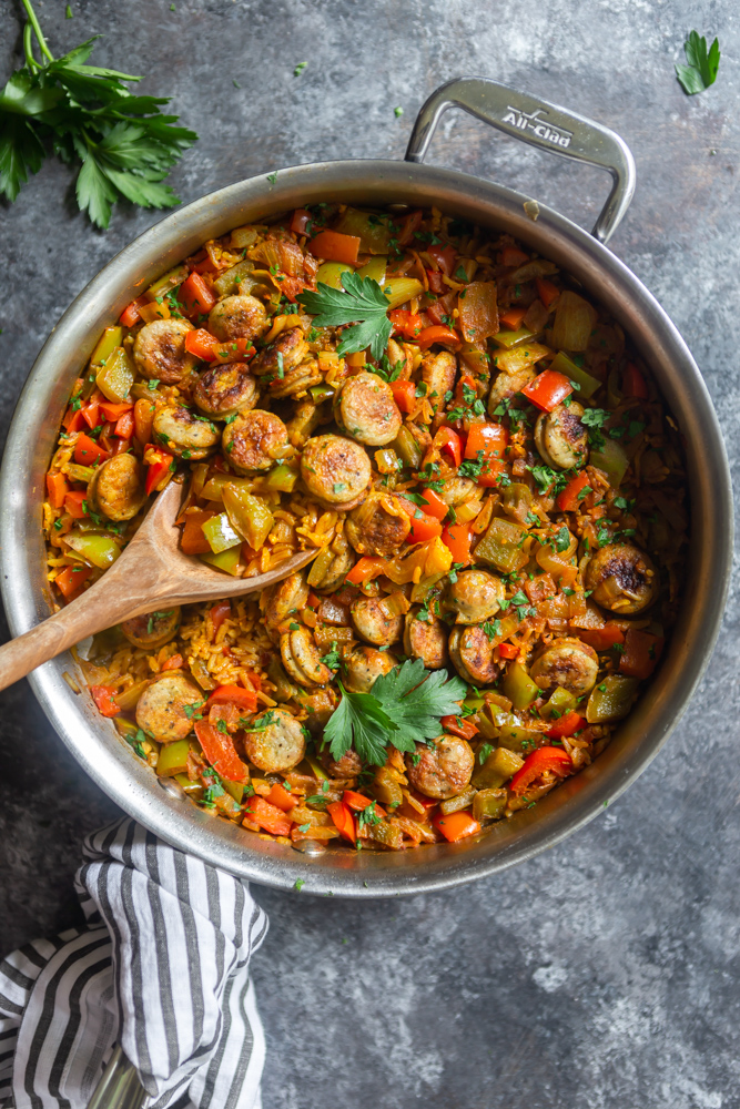 Skillet with sausage, peppers and onions