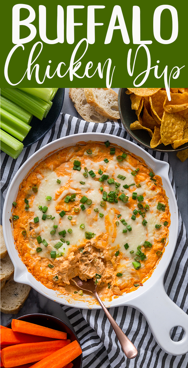 pin image for buffalo chicken dip.