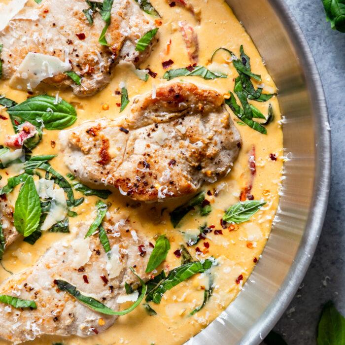 Creamy Basil Skillet Pork Chops