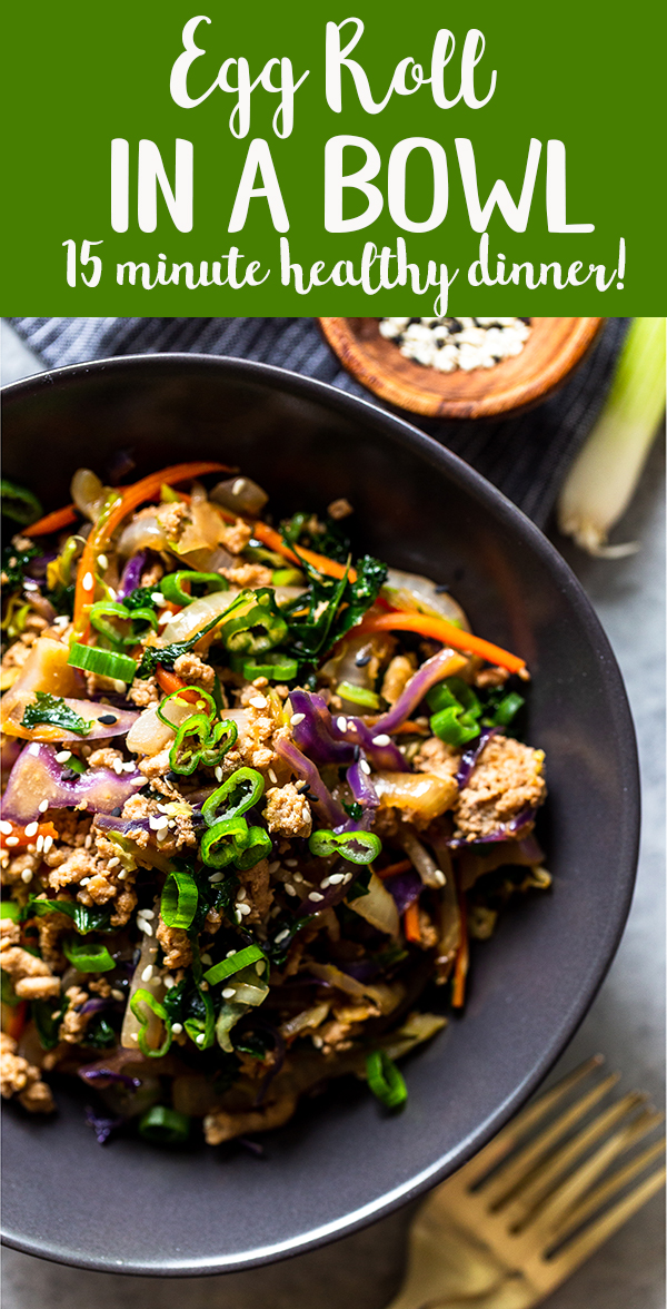 Egg Roll In a Bowl is a quick and healthy weeknight dinner that will satisfy your takeout cravings! All the delicious flavors of an egg roll in a low carb, keto friendly, easy 20 minute recipe! | quick dinner recipe | healthy dinner idea | weight watchers recipes | low calories dinner ideas | low carb recipe | keto dinner recipes | ground turkey recipe