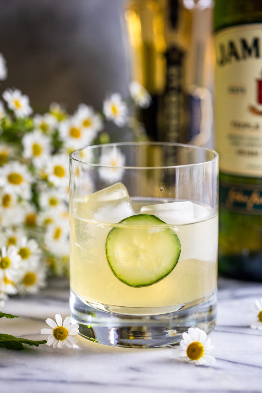 Irish maid cocktail with cucumber garnish