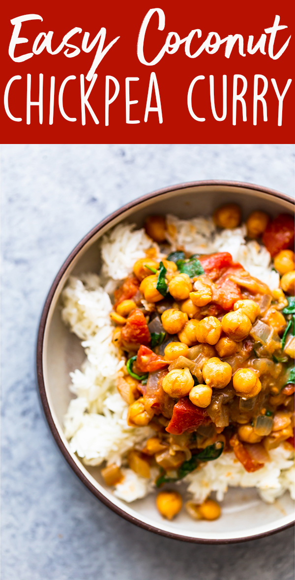 pin image for Easy Coconut Chickpea Curry
