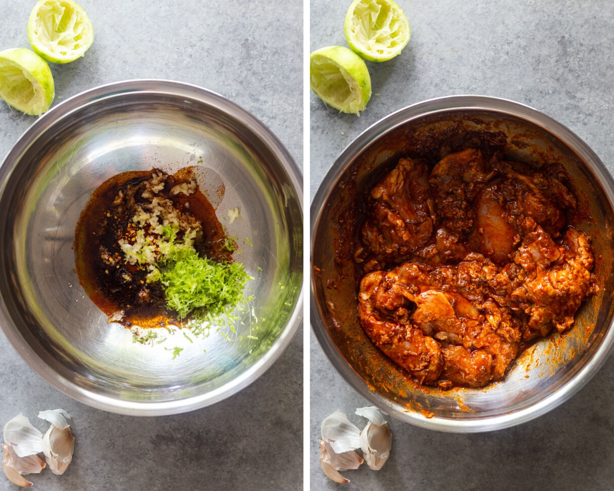 chilik lime chicken taco marinade before and after the chicken is added