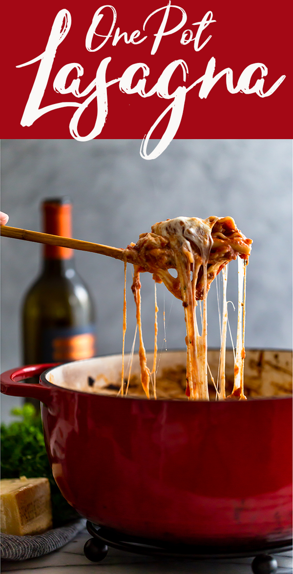 pin image for easy one pot lasagna