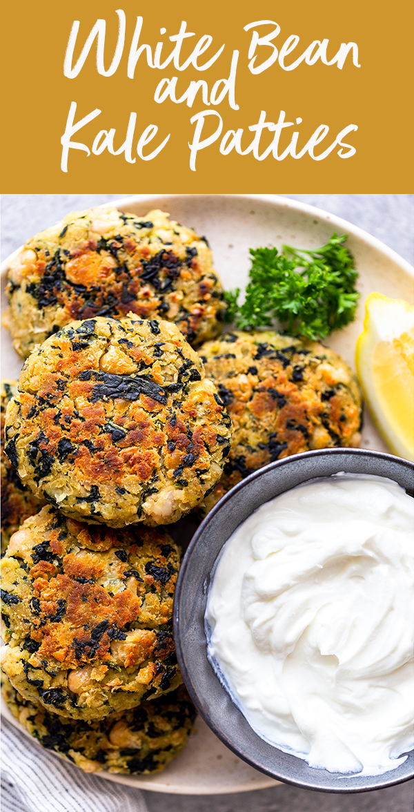 pin image for white bean and kale patties