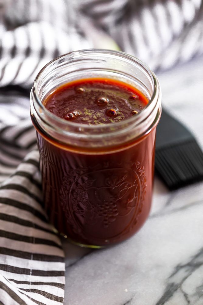 Mason jar of BBQ Sauce