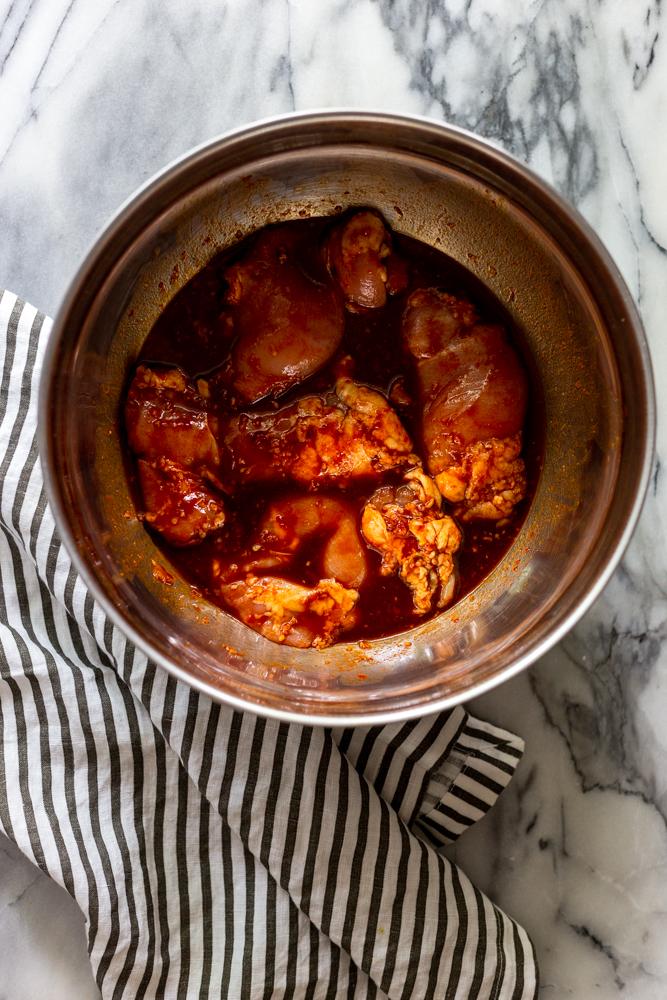 Chicken in gochujang marinade
