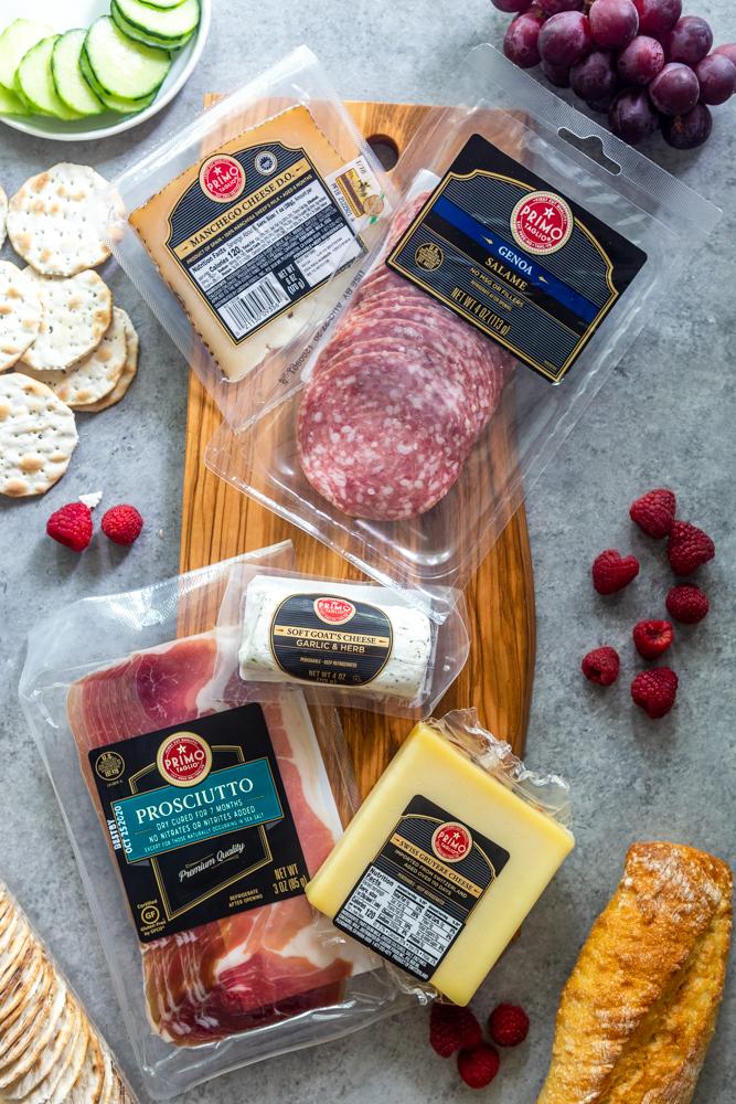 Prodcuts for a grazing board including Primo Taglio Meats and cheeses #ad @safeway #primotaglio