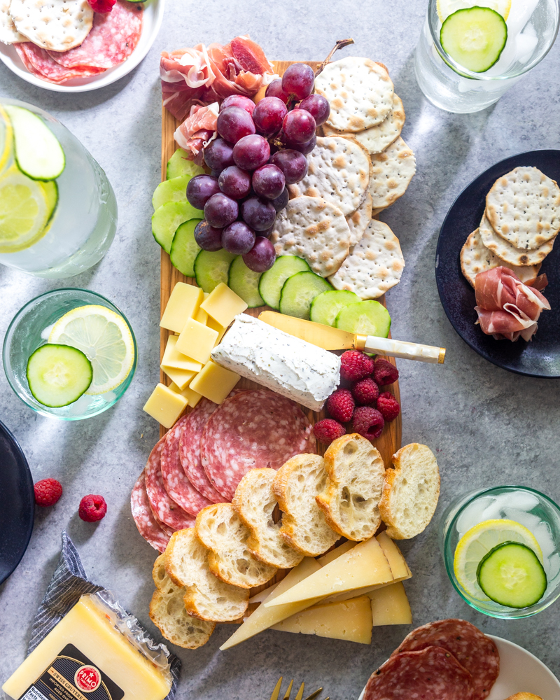 Charcuterie board from above