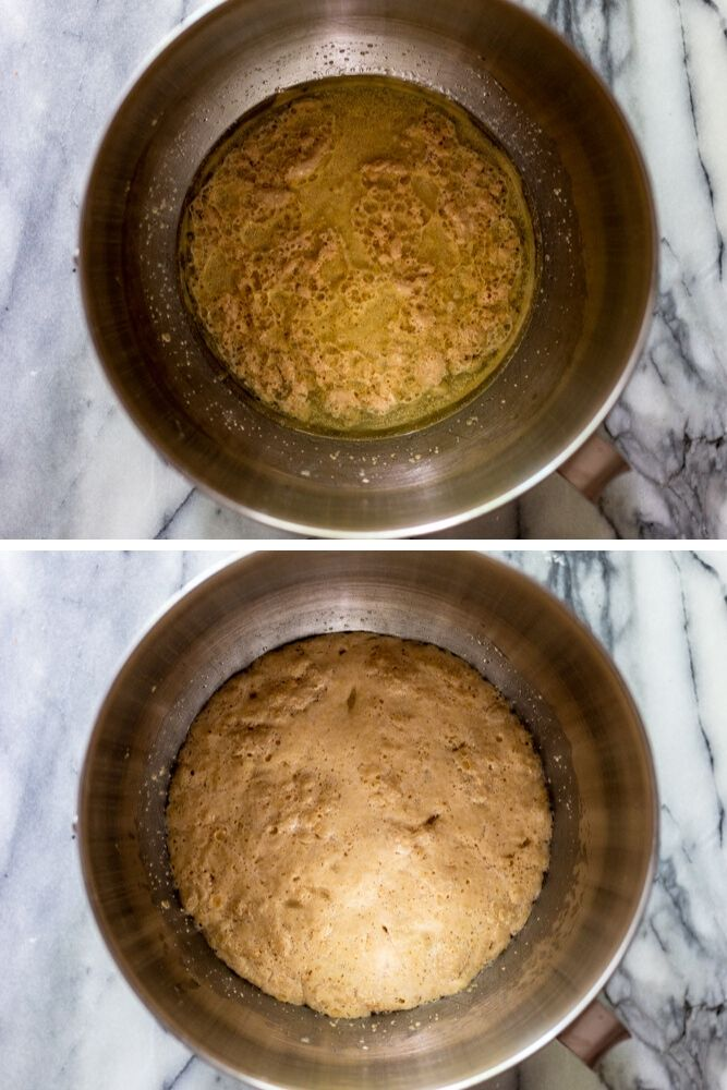 Photo of yeast mixed with water, oil and sugar. Second photo showing the same mixture five minutes later. It is foamy.