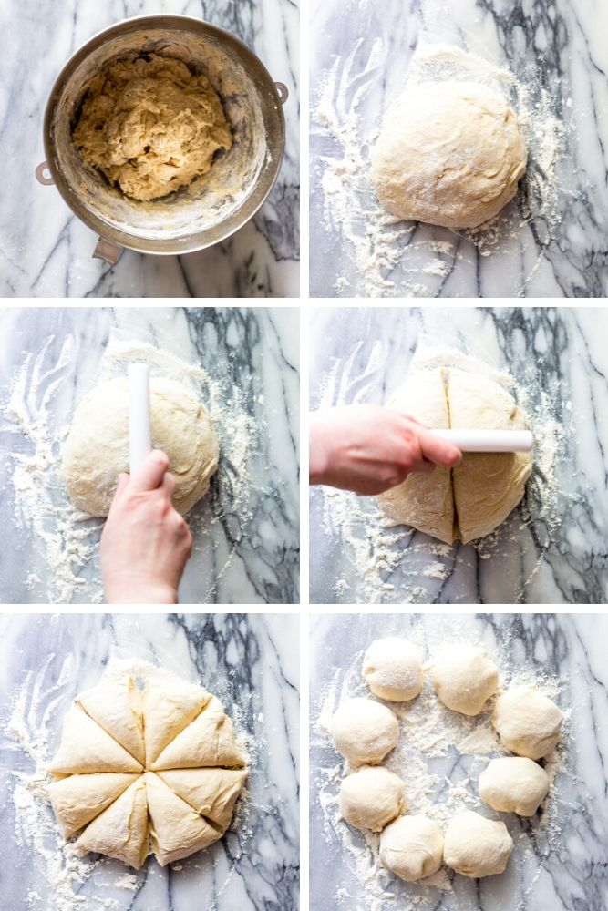 Step by step photos for making hamburger buns 1. Dough in a bowl 2. Dough shaped into a ball 3. cutting the dough in half 4. cutting the dough in fourths 5. the dough cut into 8 pieces 6. Each pieces rolled into a ball.